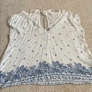 Blue & White F21 Contemporary cold shoulder top